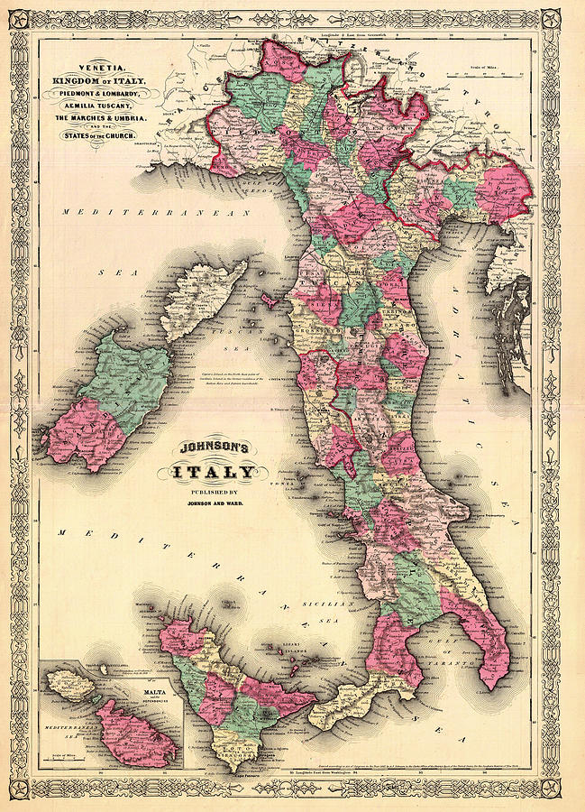 Map Drawing - Antique Map Of Italy by Mountain Dreams