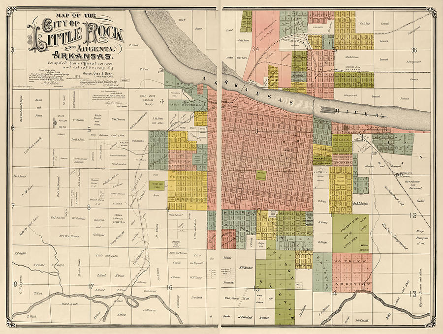 Little Rock Drawing - Antique Map Of Little Rock Arkansas By Gibb And Duff Rickon - 1888 by Blue Monocle