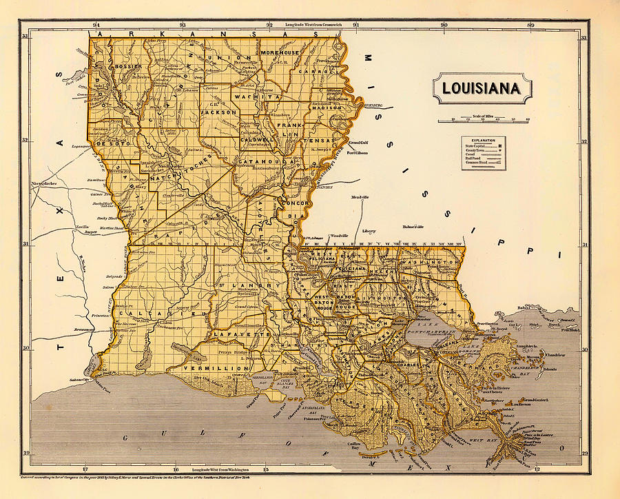 Antique Map Of Louisiana 1845 Drawing by Mountain Dreams