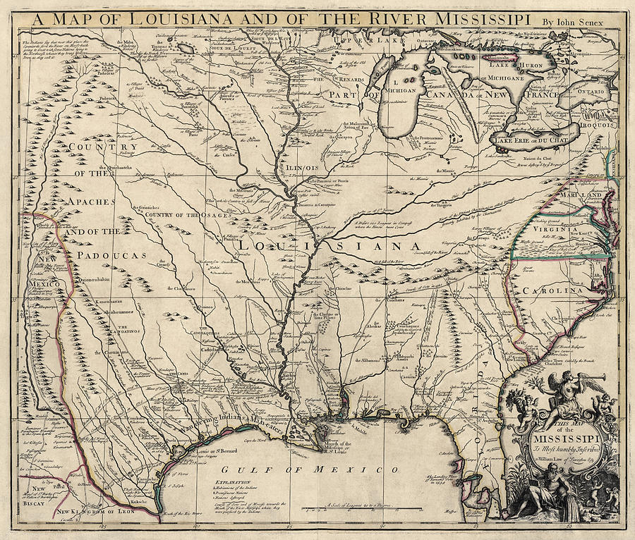 Antique Map Of Louisiana And The Mississippi River By John Senex - 1721