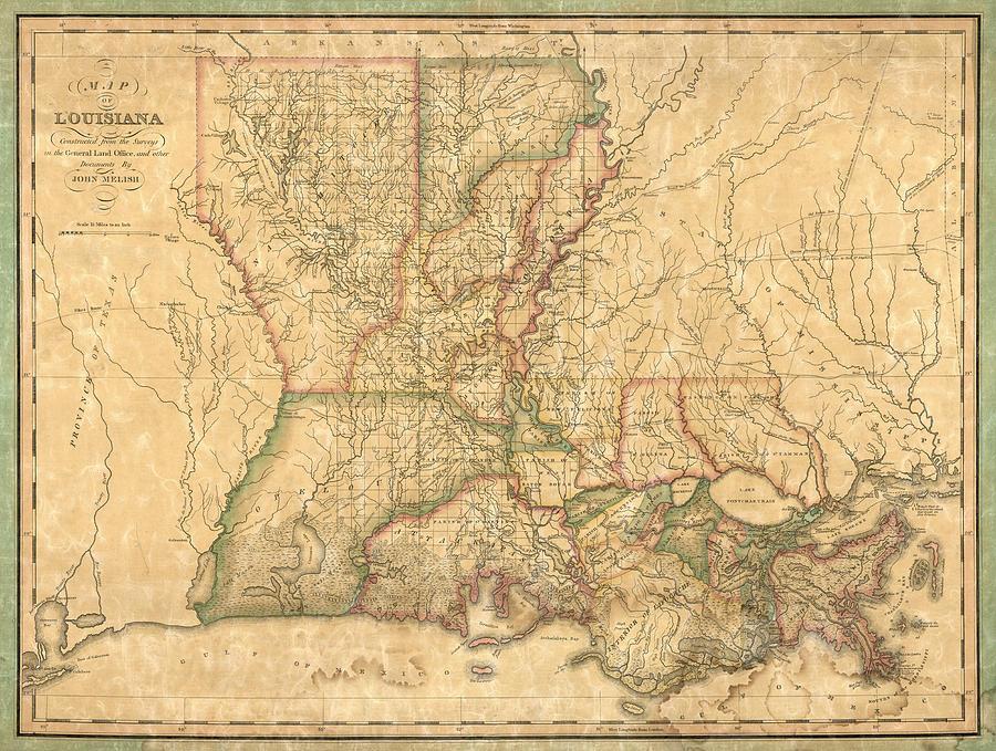 Louisiana Map Art | Fine Art America