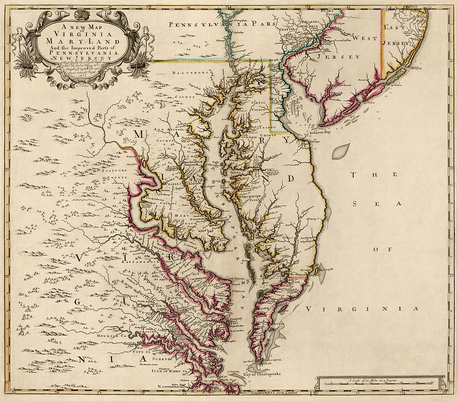 Antique Map Of Maryland And Virginia By John Senex - 1719 Drawing by ...