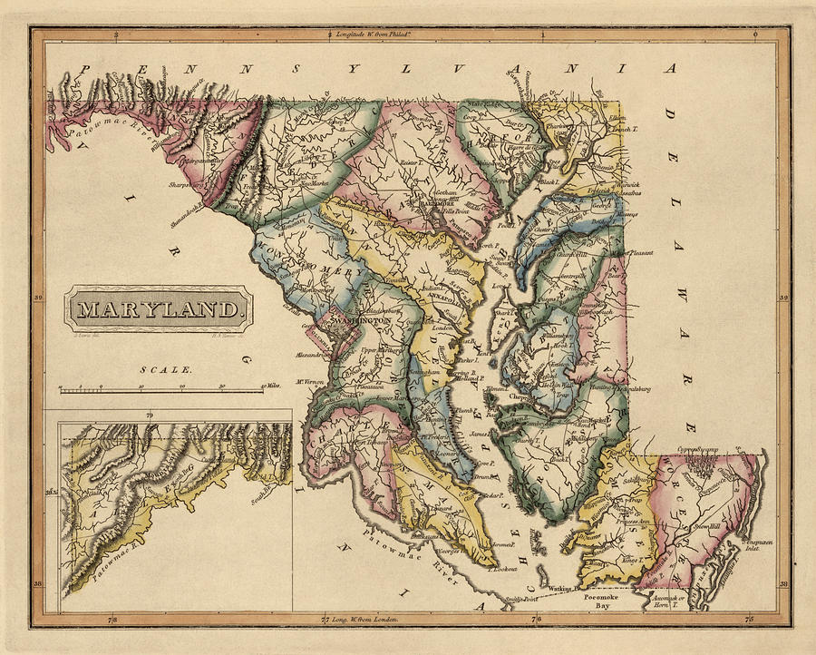 Antique Map Of Maryland By Fielding Lucas Circa Drawing By - Maryland map