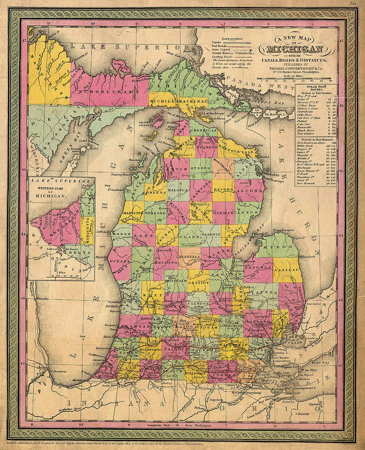 Map Drawing - Antique Map Of Michigan 1853 by Mountain Dreams