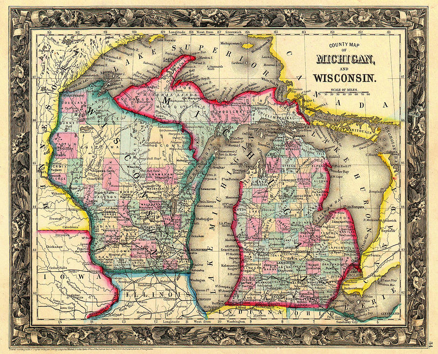 Antique Map Of Michigan And Wisconsin Drawing By Mountain Dreams - Map of wisconsin and michigan