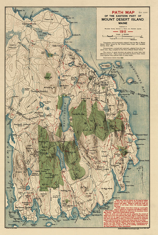 Mount Desert Island Drawing - Antique Map Of Mount Desert Island - Acadia National Park - By Waldron Bates - 1911 by Blue Monocle