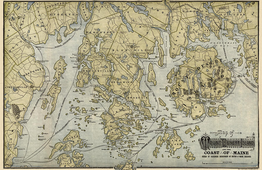 Mount Desert Island Drawing - Antique Map Of Mount Desert Island And The Coast Of Maine - Circa 1900 by Blue Monocle