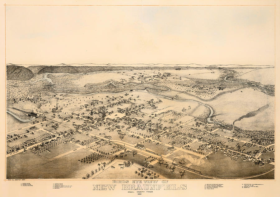 Map Drawing - Antique Map Of New Braunfels Texas 1881 by Mountain Dreams