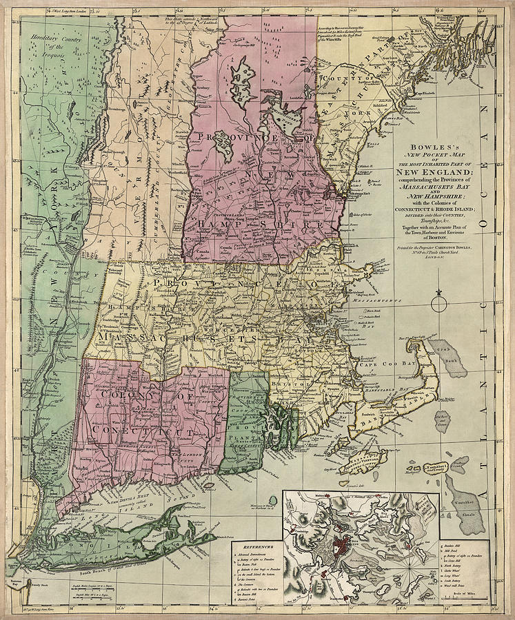 Antique map of new england by carington bowles circa 1780 new england drawing antique map of new england by carington bowles circa 1780 by gumiabroncs Gallery