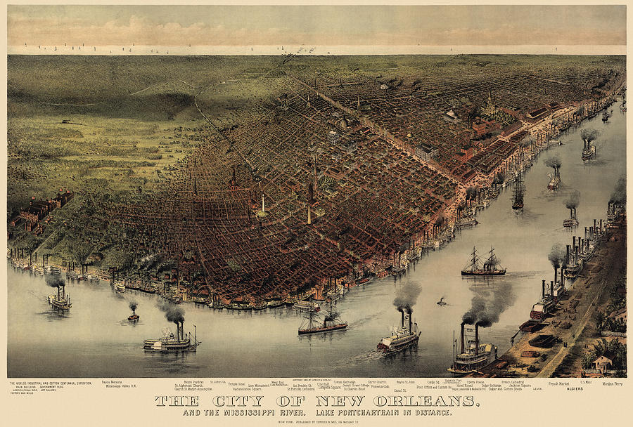 New Orleans Drawing - Antique Map Of New Orleans By Currier And Ives - Circa 1885 by Blue Monocle