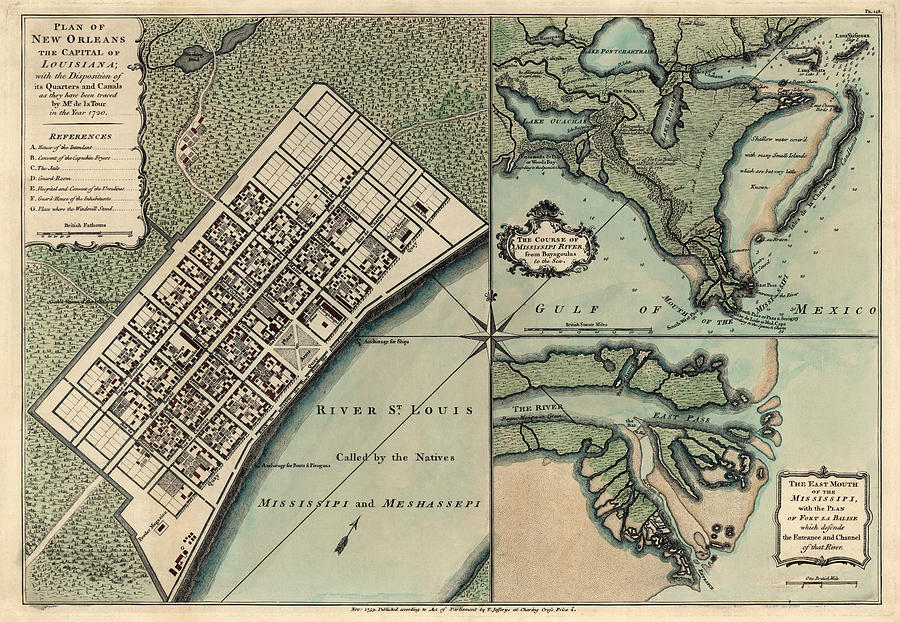 New Orleans Drawing - Antique Map Of New Orleans By Thomas Jefferys - 1759 by Blue Monocle