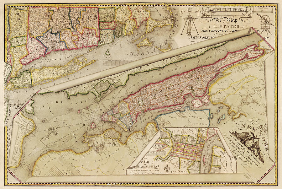 New York City Drawing - Antique Map Of New York City By John Randel - 1821 by Blue Monocle