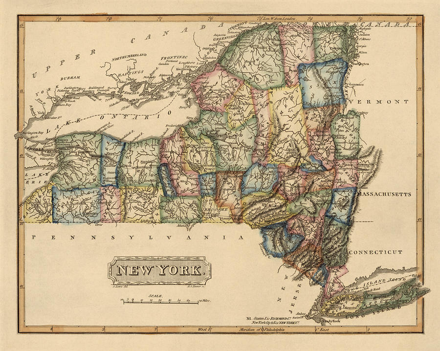 Antique Map Of New York State By Fielding Lucas - Circa 1817 ...