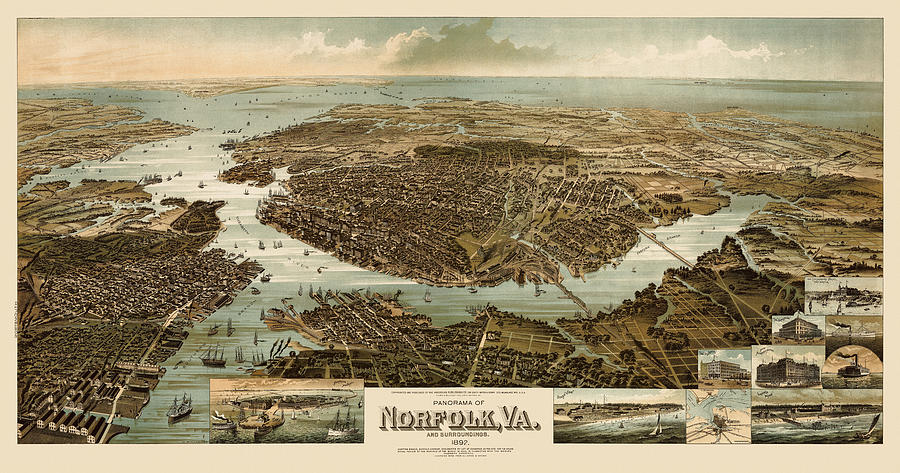 Norfolk Drawing - Antique Map Of Norfolk And Portsmouth Virginia By H. Wellge - 1892 by Blue Monocle