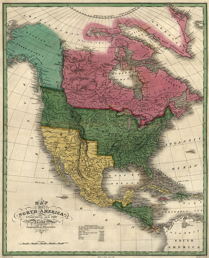 North America Drawing - Antique Map Of North America By D. H. Vance - 1826 by Blue Monocle