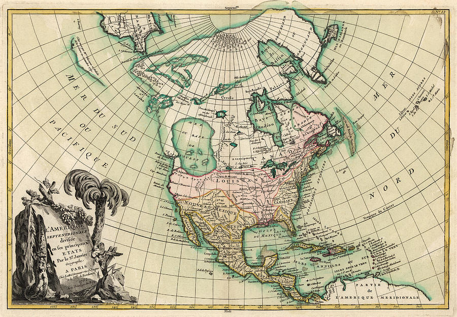 North America Drawing - Antique Map Of North America By Jean Janvier - 1762 by Blue Monocle