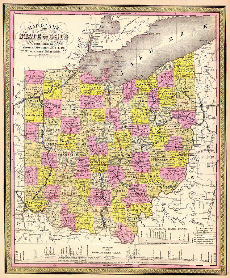 Map Drawing - Antique Map Of Ohio 1850 by Mountain Dreams