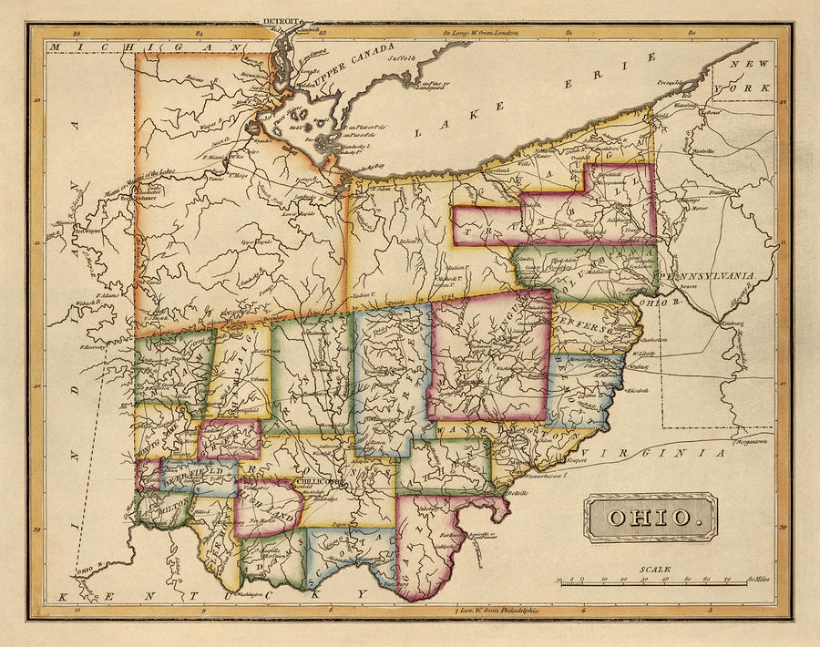 Antique Map Of Ohio By Fielding Lucas   Circa 1817 Drawing by