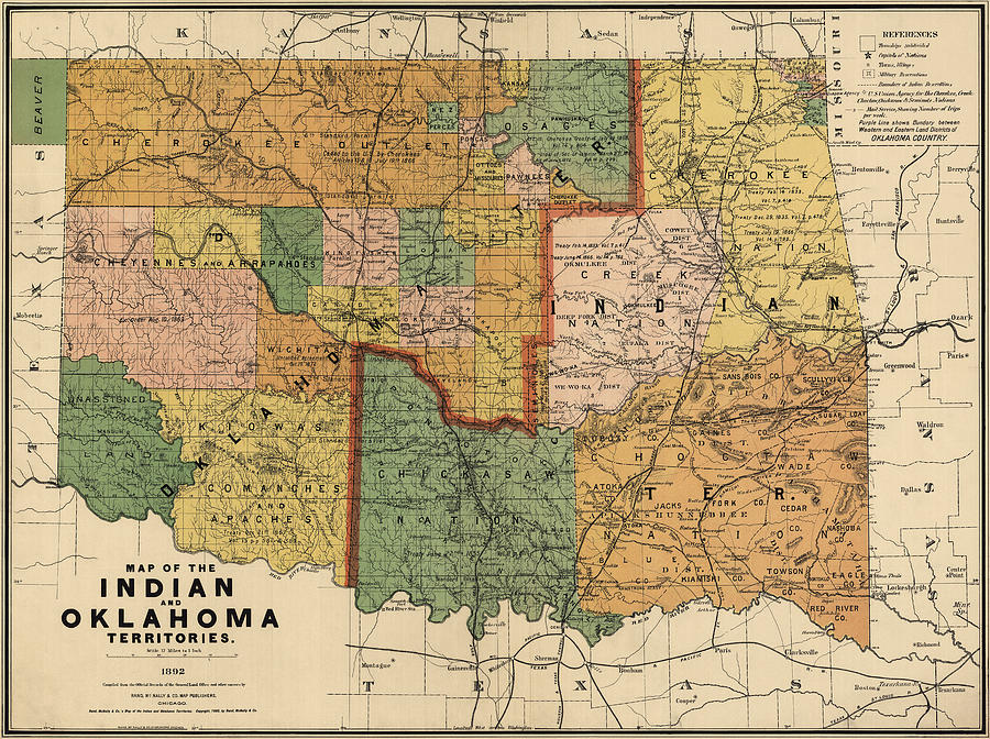 Oklahoma Drawing - Antique Map Of Oklahoma By Rand Mcnally And Company - 1892 by Blue Monocle
