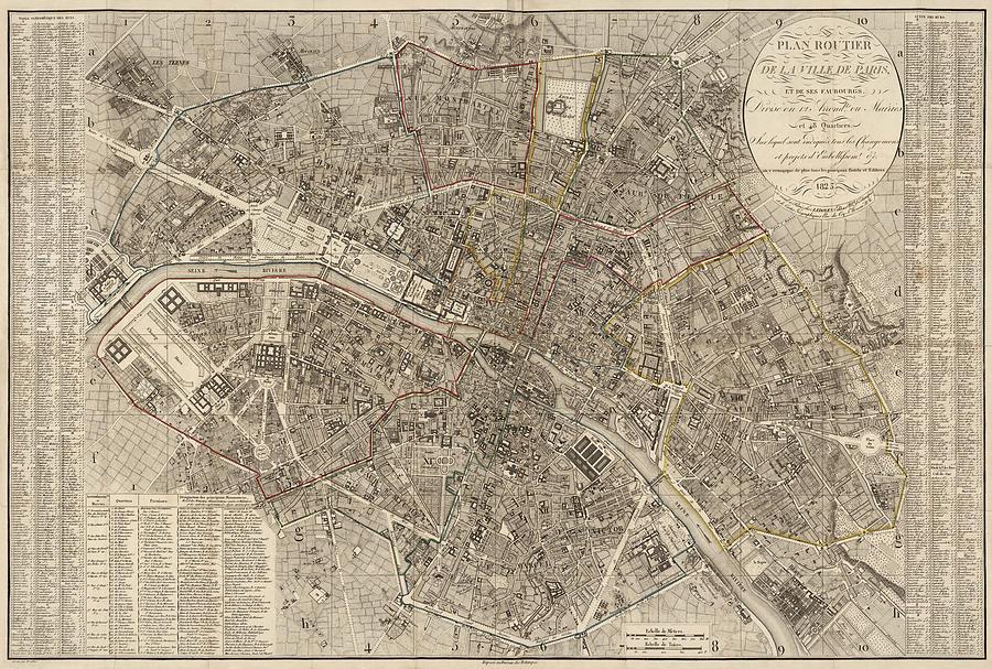 Paris Drawing - Antique Map Of Paris France By Ledoyen - 1823 by Blue Monocle