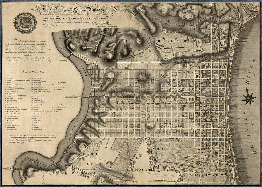 Philadelphia Drawing - Antique Map Of Philadelphia By John Hills - 1797 by Blue Monocle