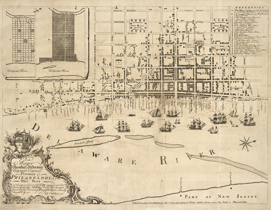 Philadelphia Drawing - Antique Map Of Philadelphia By Nicholas Scull - 1762 by Blue Monocle