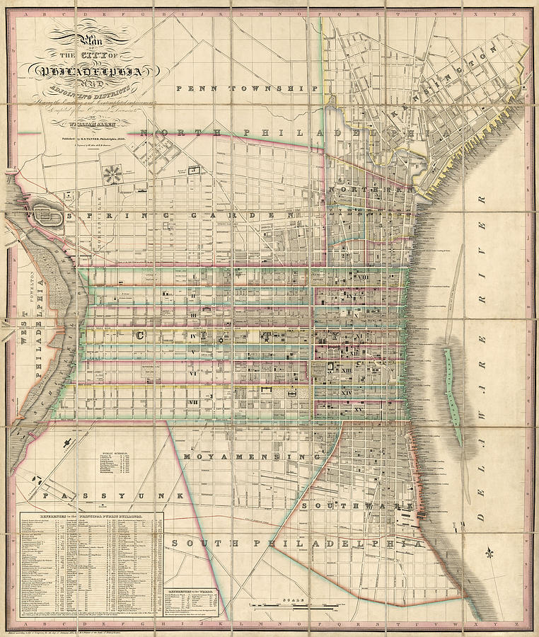 Antique Map Of Philadelphia By William Allen 1830 Drawing by