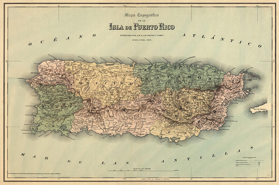 Antique Map Of Puerto Rico 1886 Drawing By Blue Monocle