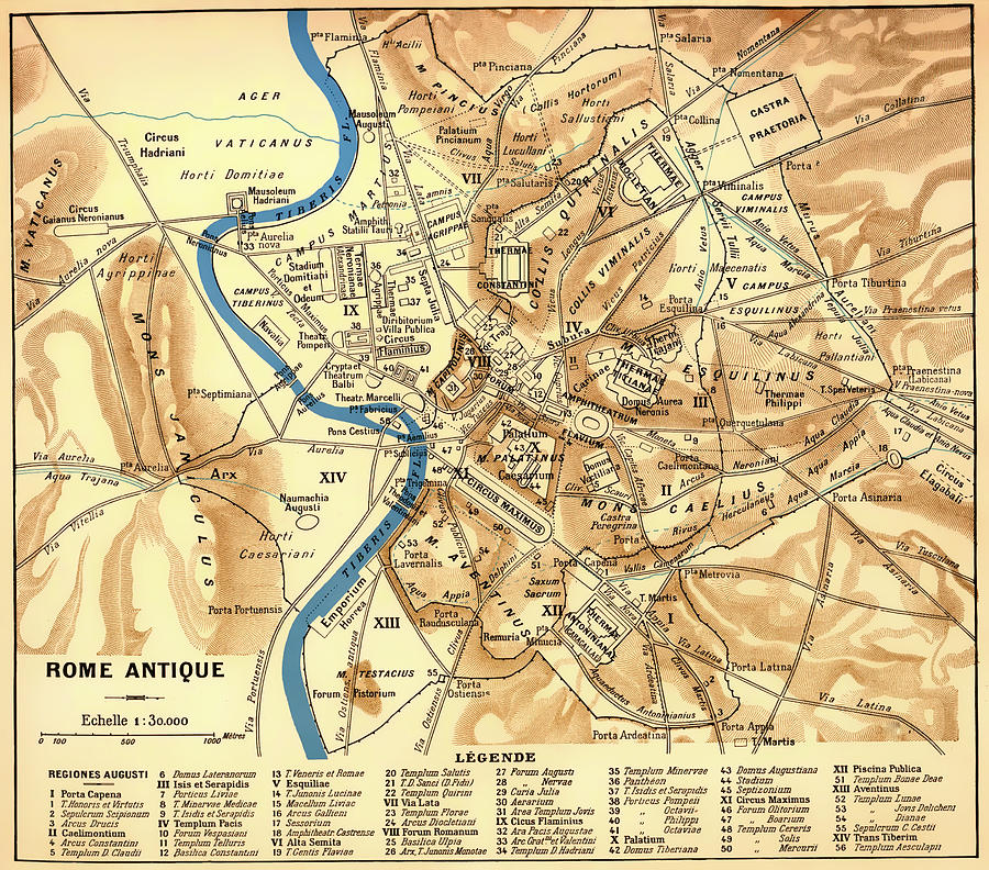 Map Drawing - Antique Map Of Rome During Antiquity 1870 by Mountain Dreams