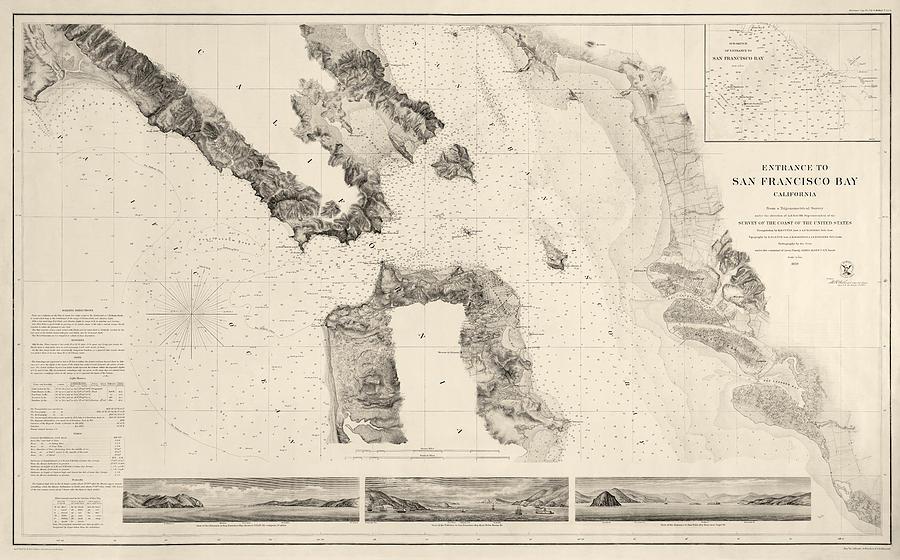 San Francisco Drawing - Antique Map Of San Francisco - Usgs Coast Survey Map - 1859 by Blue Monocle