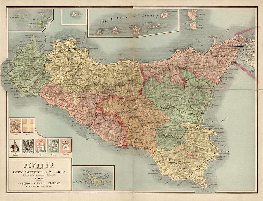 Sicily Drawing - Antique Map Of Sicily Italy By Antonio Vallardi - 1900 by Blue Monocle