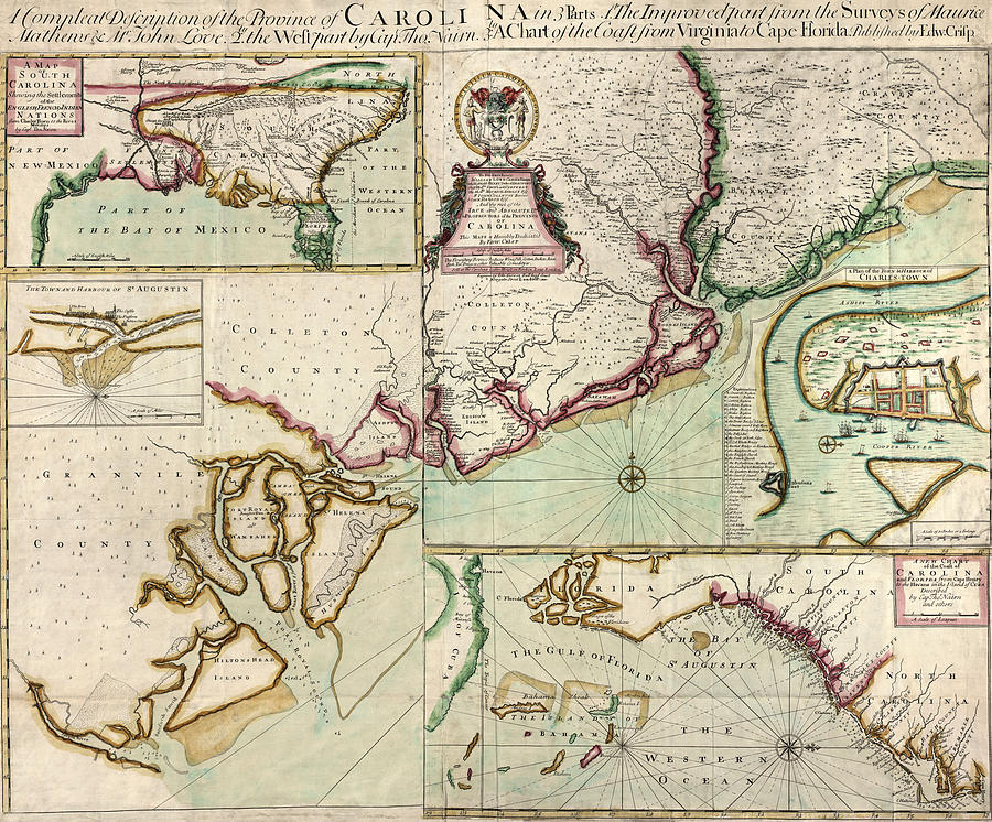South Carolina Drawing - Antique Map Of South Carolina By Edward Crisp - Circa 1711 by Blue Monocle