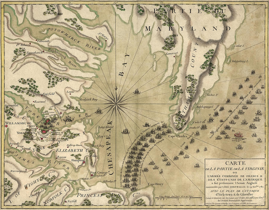 Antique Map Of The Battle Of Yorktown Virginia By Esnauts