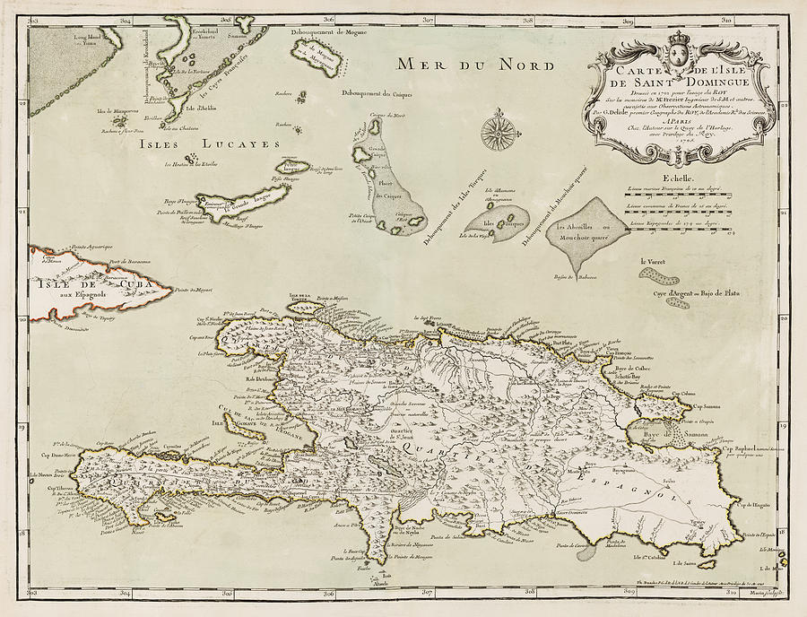 Dominican Republic Drawing - Antique Map of the Dominican Republic and Haiti by Jacques Nicolas Bellin - 1745 by Blue Monocle