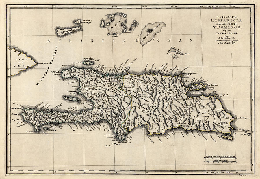Dominican Republic Drawing - Antique Map of the Dominican Republic and Haiti by Thomas Jefferys - 1768 by Blue Monocle