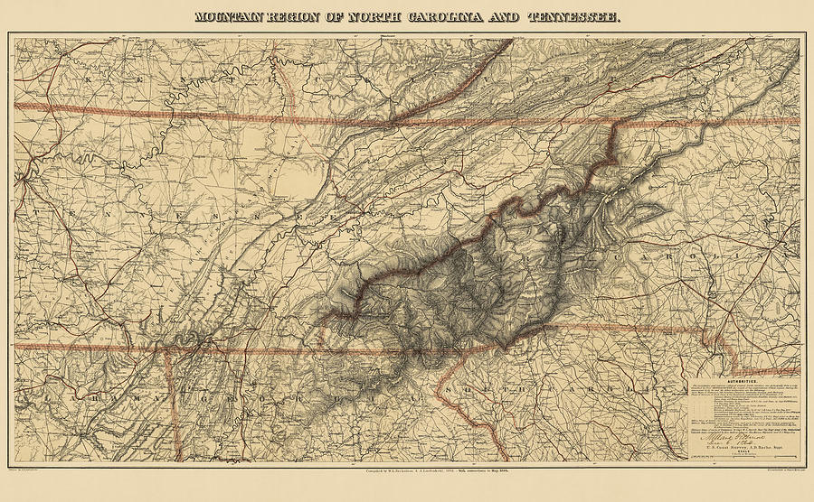 Great Smoky Mountains Drawing - Antique Map Of The Great Smoky Mountains - North Carolina And Tennessee - By W. L. Nickolson - 1864 by Blue Monocle