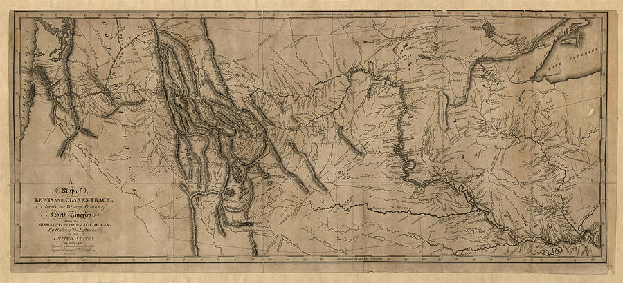 Lewis And Clark Drawing - Antique Map Of The Lewis And Clark Expedition By Samuel Lewis - 1814 by Blue Monocle