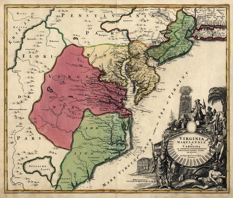 Colonial America Drawing - Antique Map Of The Middle American Colonies By Johann Baptist Homann - Circa 1759 by Blue Monocle