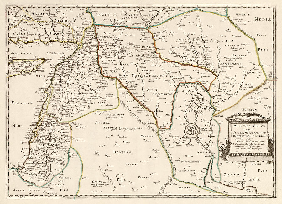Middle East Drawing - Antique Map Of The Middle East By Philippe De La Rue - 1651 by Blue Monocle