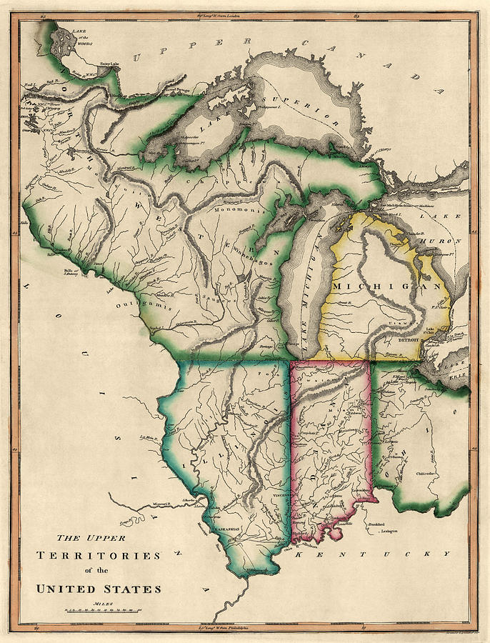 Antique Map Of The Midwest Us By Kneass And Delleker Circa 1810