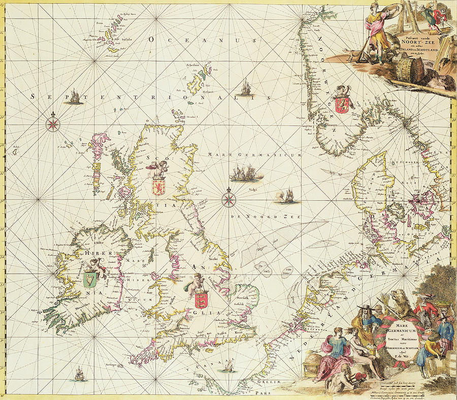 Antique Map Of The North Sea Drawing By Frederick De Wit