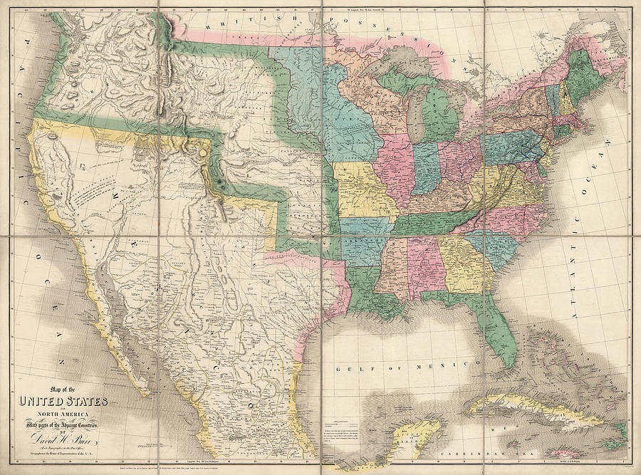 United States Drawing - Antique Map Of The United States By David Burr - 1839 by Blue Monocle