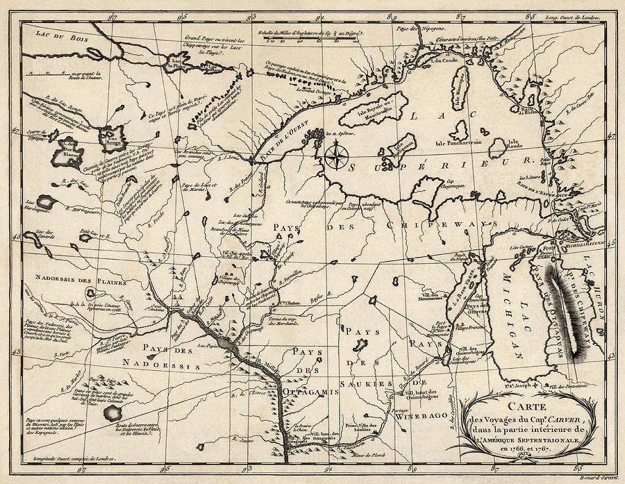 Upper Midwest Drawing - Antique Map of the Upper Midwest US  and Great Lakes by Benard - circa 1768 by Blue Monocle