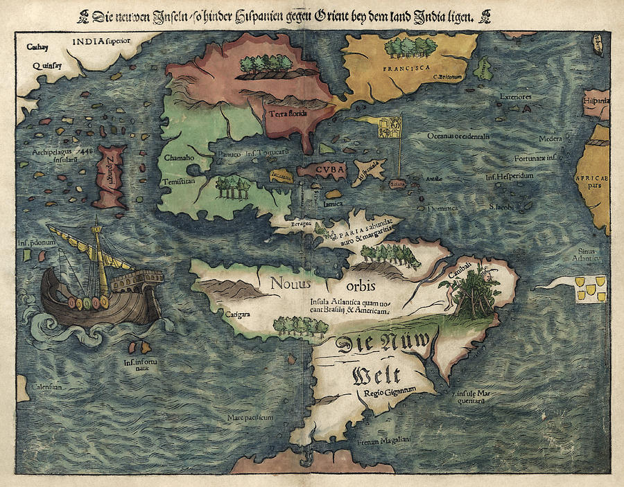 Antique Map Of The Western Hemisphere By Sebastian Munster Circa - Old map reproductions