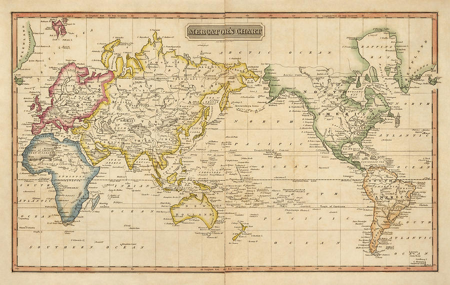 Antique Map Of The World By Fielding Lucas Circa 1817 Drawing By