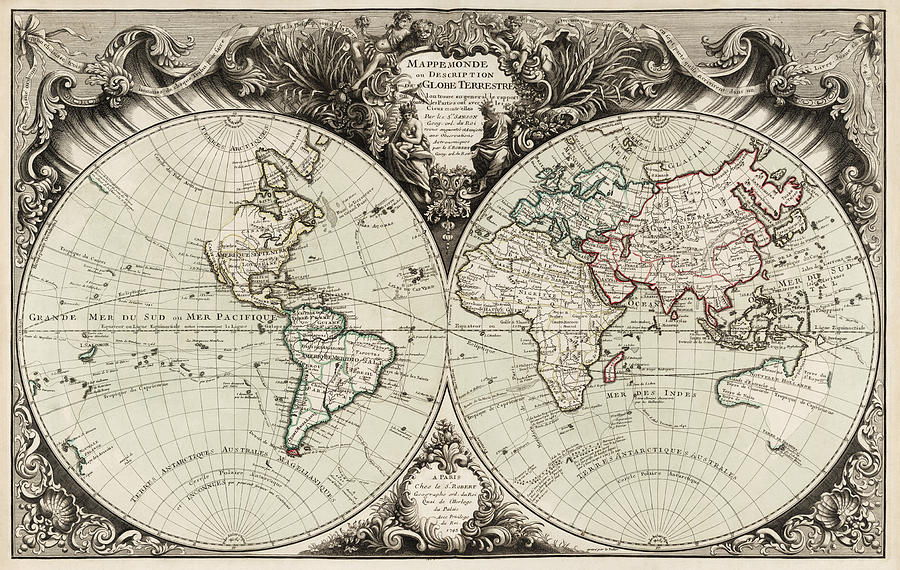 Antique map of the world by gilles robert de vaugondy 1743 drawing world drawing antique map of the world by gilles robert de vaugondy 1743 by gumiabroncs Image collections