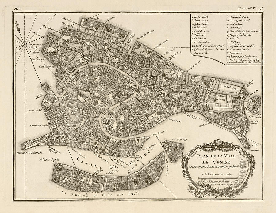 Antique Map of Venice Italy by Jacques Nicolas Bellin ...