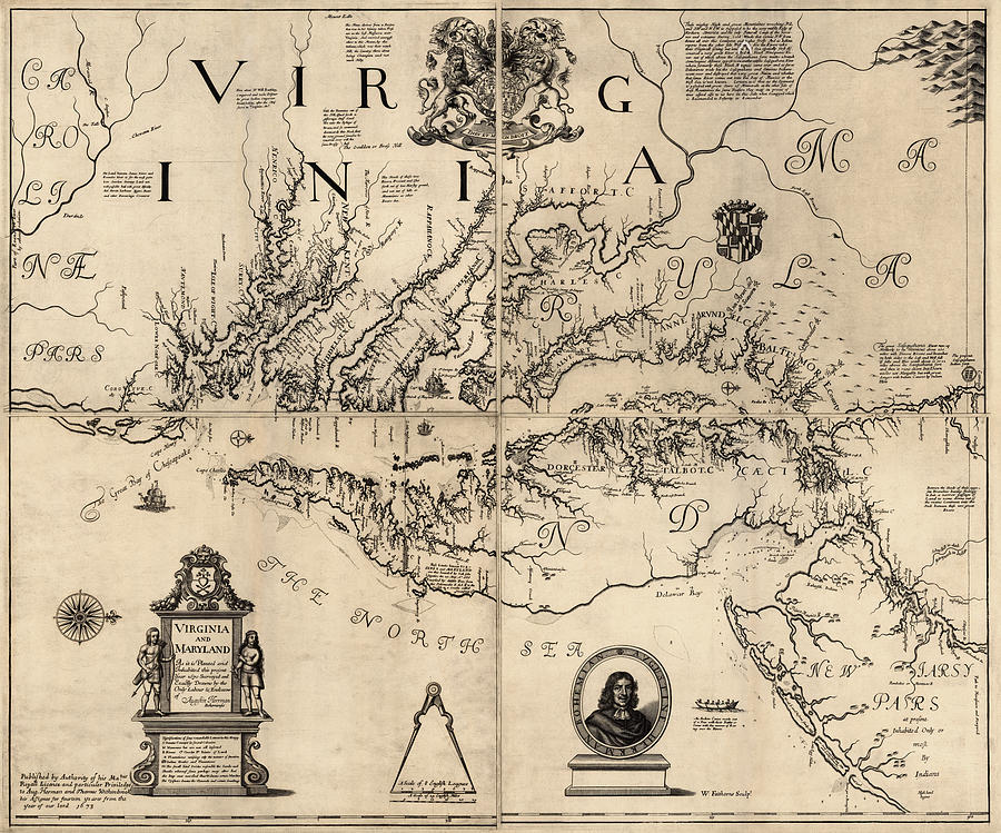 Antique Map Of Virginia And Maryland By Augustine Herrman - Vintage map of virginia