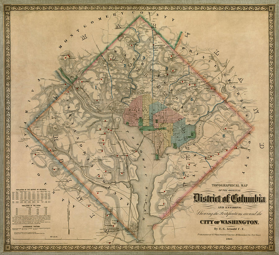 Washington Dc Drawing - Antique Map Of Washington Dc By Colton And Co - 1862 by Blue Monocle