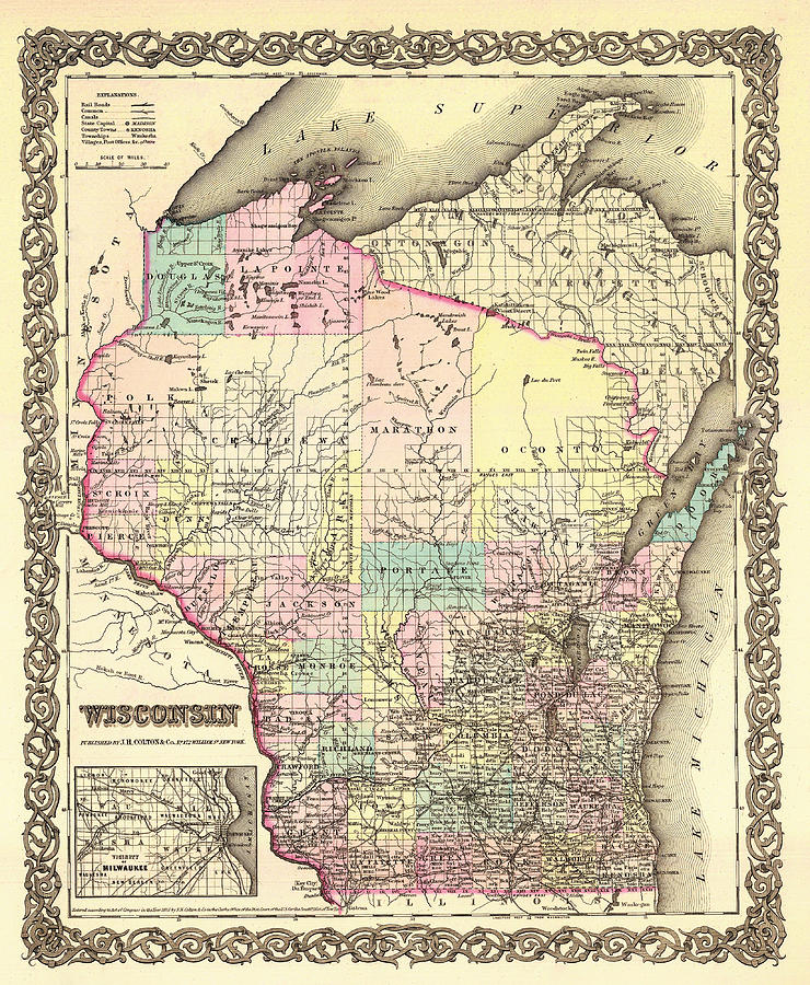 Map Drawing - Antique Map Of Wisconsin 1855 by Mountain Dreams